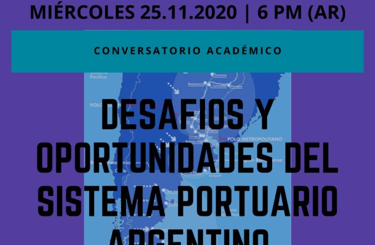 """Webinar """"Desafíos y oportunidades del sistema portuario argentino""""."""